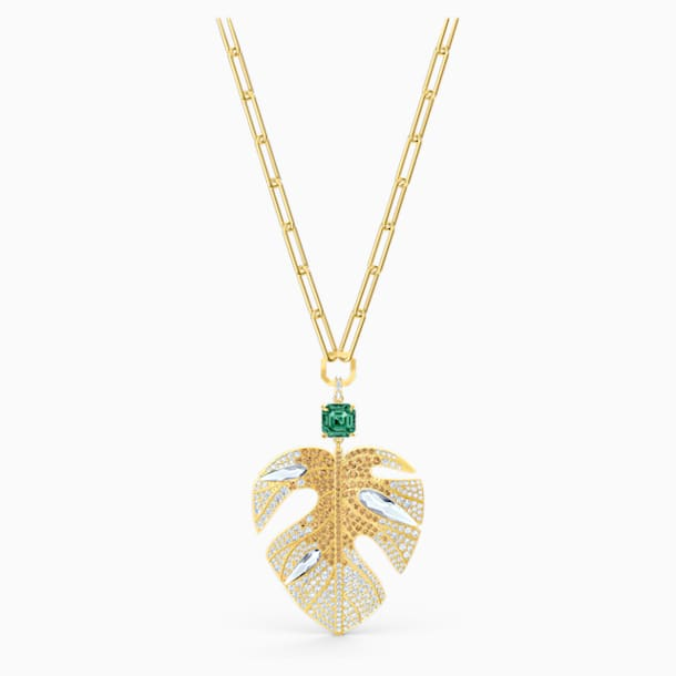 Tropical Leaf Pendant, Light multi-colored, Gold-tone plated - Swarovski, 5512695