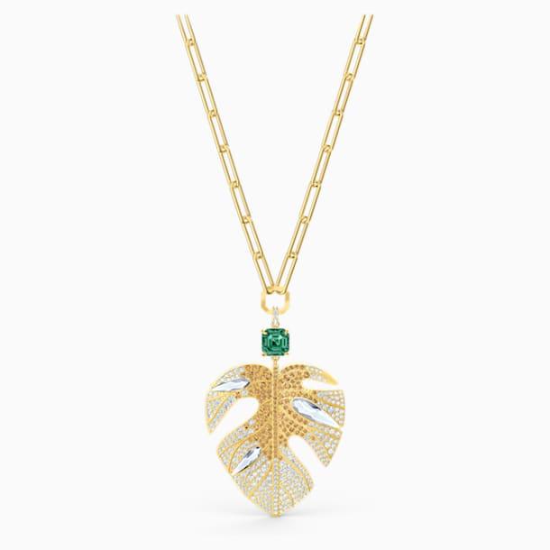 Pendente Tropical Leaf, multicolorido claro, banhado a dourado - Swarovski, 5512695