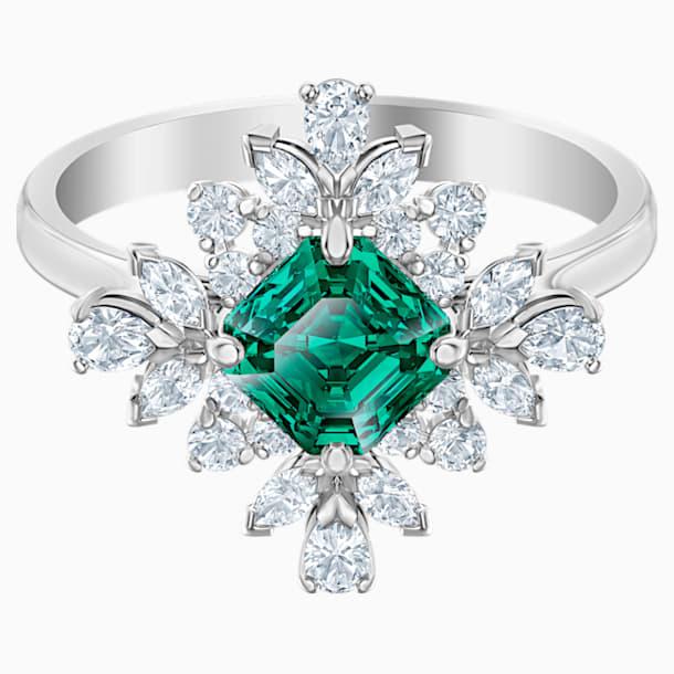Palace 圖形戒指, 綠色, 鍍白金色 - Swarovski, 5513214