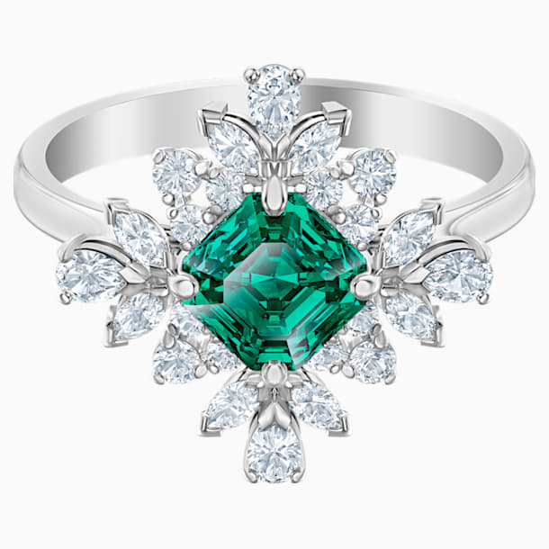 Palace Motif Ring, Green, Rhodium plated - Swarovski, 5513215