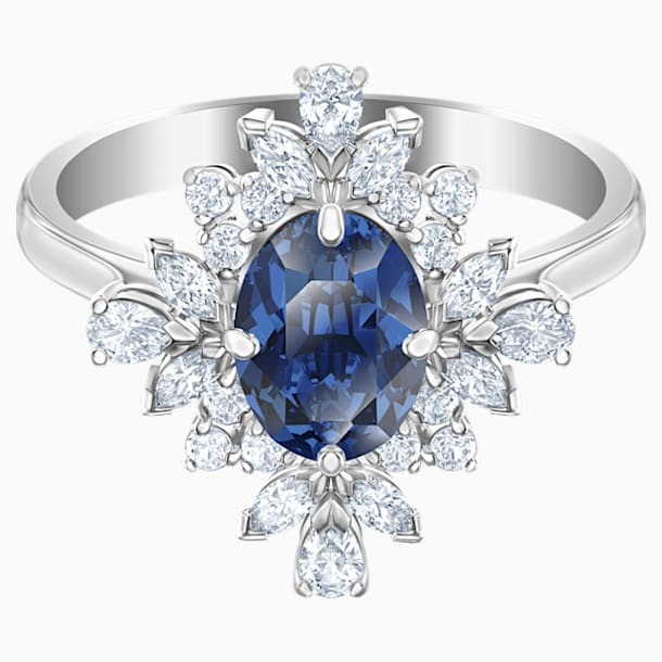 Palace Motif Ring, Blue, Rhodium plated - Swarovski, 5513216