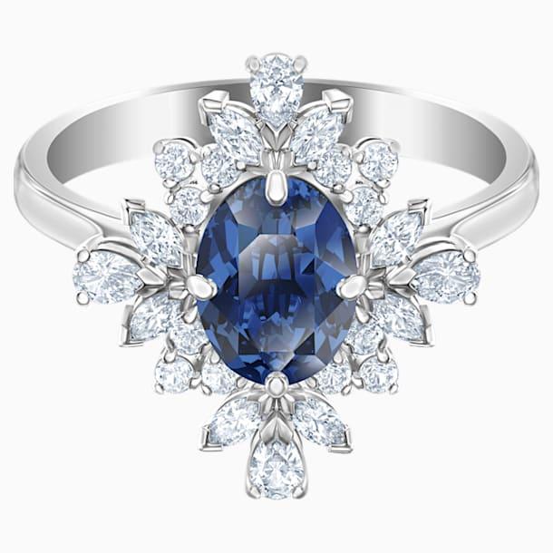 Prsten s motivem Palace, modrý, rhodiovaný - Swarovski, 5513221