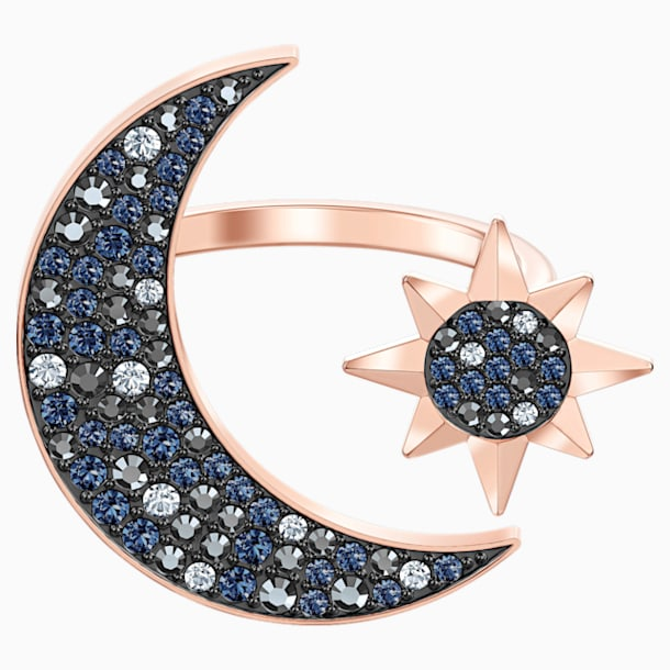 Swarovski Symbolic Moon Ring, Multi-colored, Rose-gold tone plated - Swarovski, 5513225