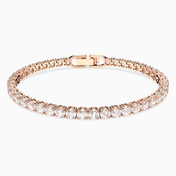 Luxusní tenisový náramek, Bílý, Pozlacený růžovým zlatem - Swarovski, 5513400
