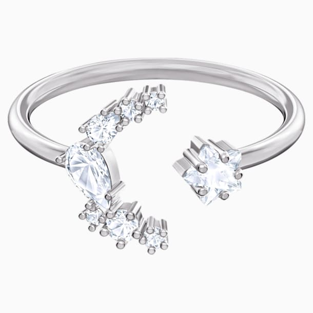 Moonsun Open Ring, White, Rhodium plated - Swarovski, 5513977