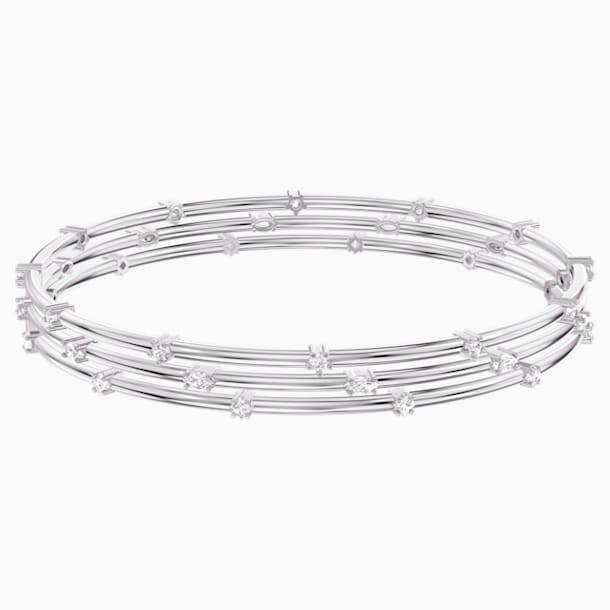Penélope Cruz Moonsun Cluster Bangle, White, Rhodium plated - Swarovski, 5513979