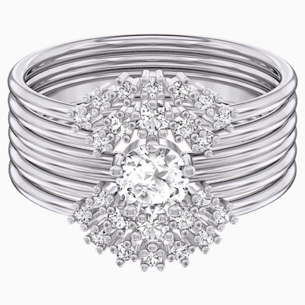 Moonsun Ring Set, White, Rhodium plated - Swarovski, 5513980