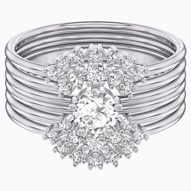 Moonsun Ring Set, White, Rhodium plated - Swarovski, 5513980
