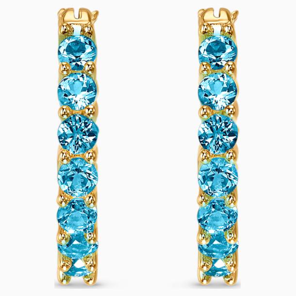 Τρυπητά σκουλαρίκια κρίκοι Vittore, άκουα, επιχρυσωμένα - Swarovski, 5514357