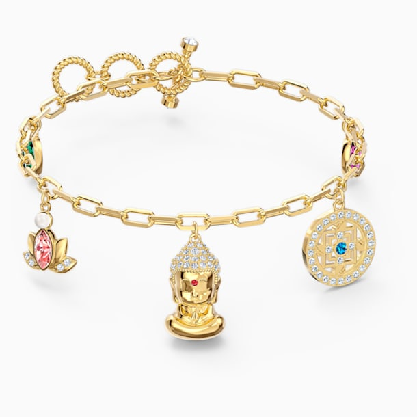 스와로브스키 Swarovski Symbolic Buddha Bracelet, Light multi-colored, Gold-tone plated