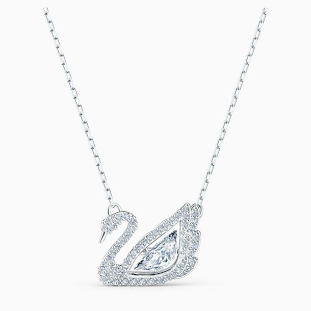 Dancing Swan Necklace, White, Rhodium plated - Swarovski, 5514421