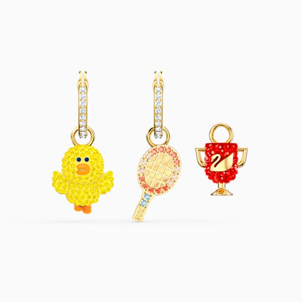Line Friends Tennis Pierced Earrings, Light multi-colored, Gold-tone plated - Swarovski, 5514433