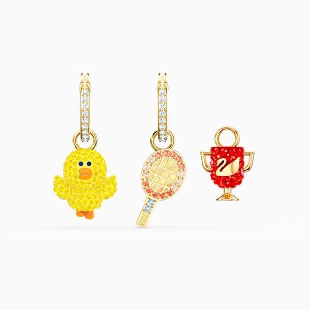 Line Friends Tennis Pierced Earrings, Light multi-colored, Gold-tone plated - Swarovski, 5514433