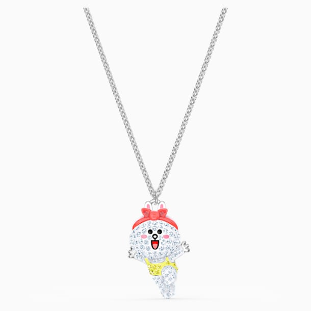 Line Friends Healthy Necklace, Light multi-colored, Rhodium plated - Swarovski, 5514434