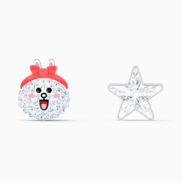 Line Friends Healthy Stud Pierced Earrings, Light multi-colored, Rhodium plated - Swarovski, 5514435