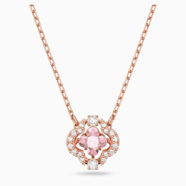 Colar Swarovski Sparkling Dance Clover, rosa, banhado com tom rosa dourado - Swarovski, 5514488