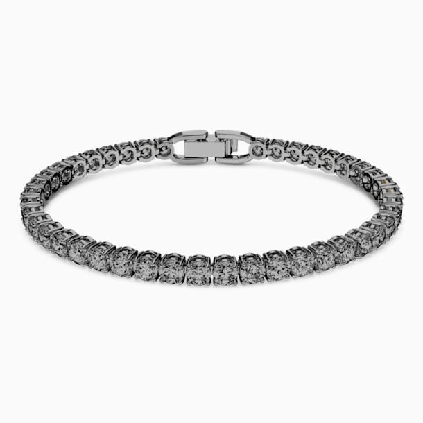 Tennis Deluxe Bracelet, Grey, Ruthenium plated - Swarovski, 5514655