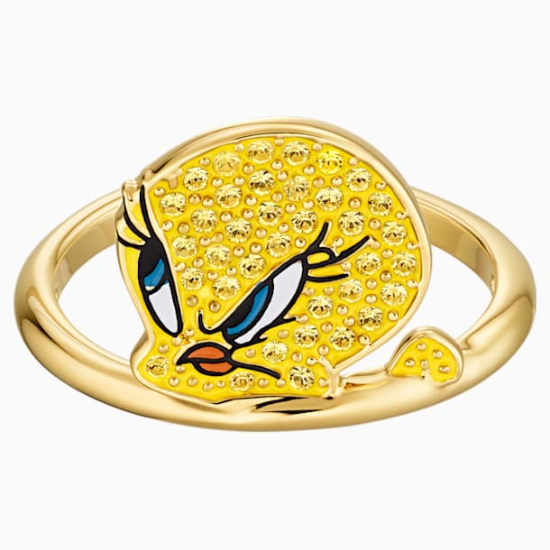Looney Tunes Tweety Motif Ring, Yellow, Gold-tone plated - Swarovski, 5514967