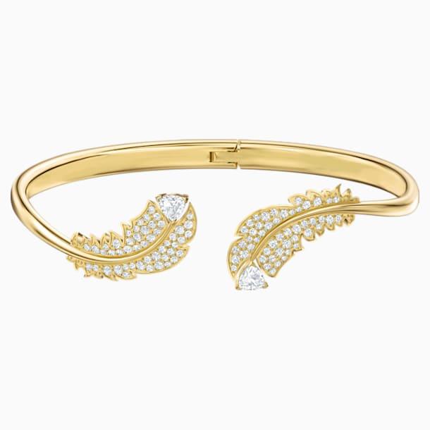 Nice Жёсткий браслет, Белый Кристалл, Покрытие оттенка золота - Swarovski, 5515019