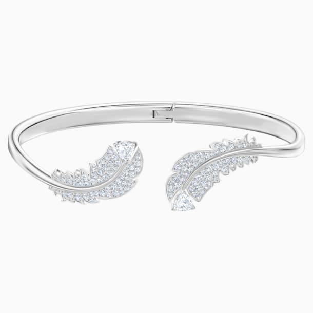 Bracelet-jonc Nice, blanc, Métal rhodié - Swarovski, 5515022