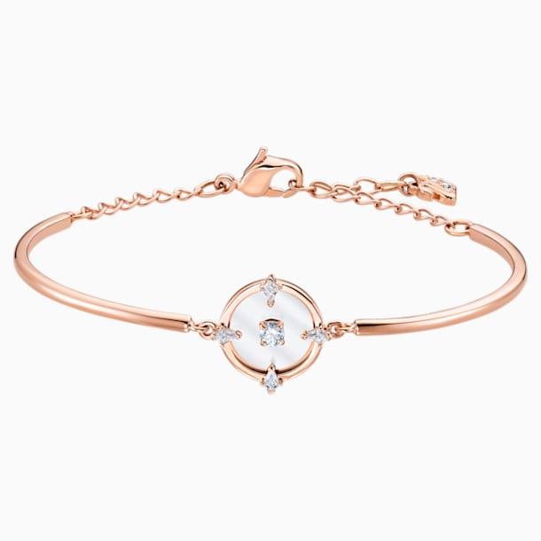 North Жёсткий браслет, Белый Кристалл, Покрытие оттенка розового золота - Swarovski, 5515027