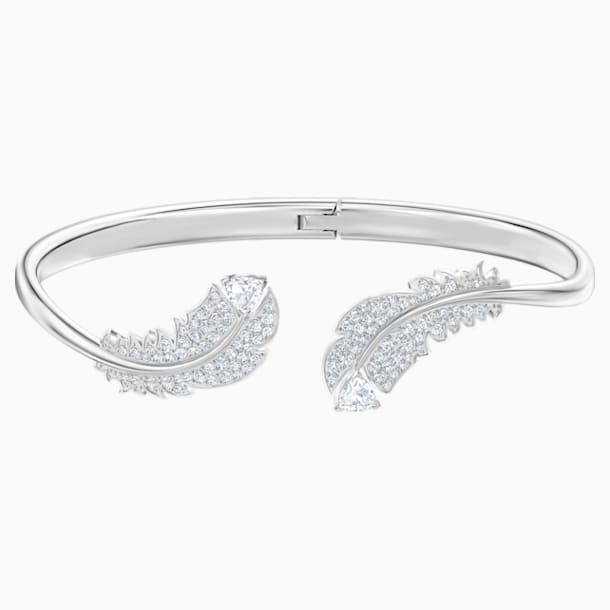 Nice Bangle, White, Rhodium plated - Swarovski, 5515032