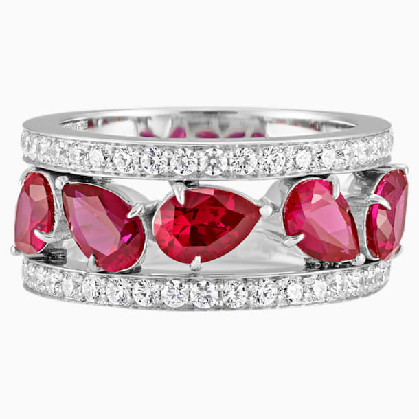 Lola Wide Band Ring, Swarovski Created Rubies, 18K White Gold, Size 55 - Swarovski, 5515120