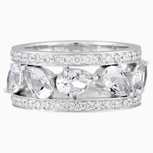 Lola Wide Band Ring, Swarovski Created Diamonds, 18K White Gold, Size 58 - Swarovski, 5515131