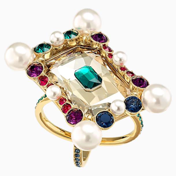 Vintage Opulescence koktélgyűrű, többszínű, aranyszínű bevonattal - Swarovski, 5515188