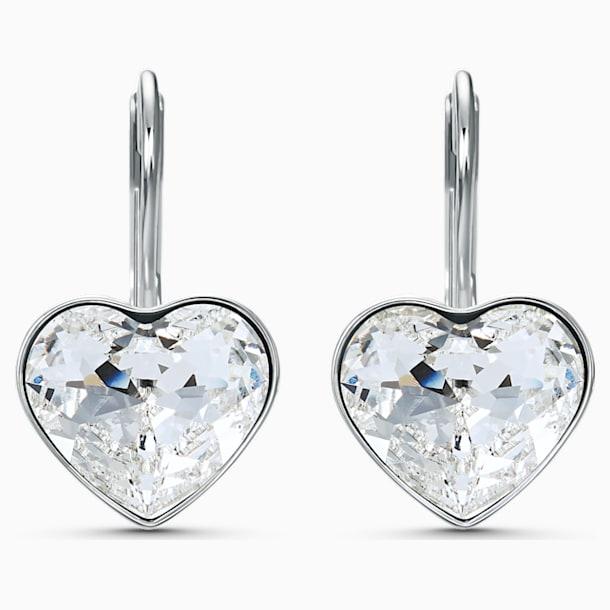 Bella Heart Pierced Earrings, White, Rhodium plated - Swarovski, 5515191