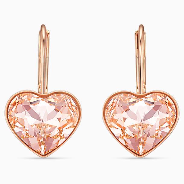 Bella Heart 이어링, 핑크, 로즈골드 톤 플래팅 - Swarovski, 5515192