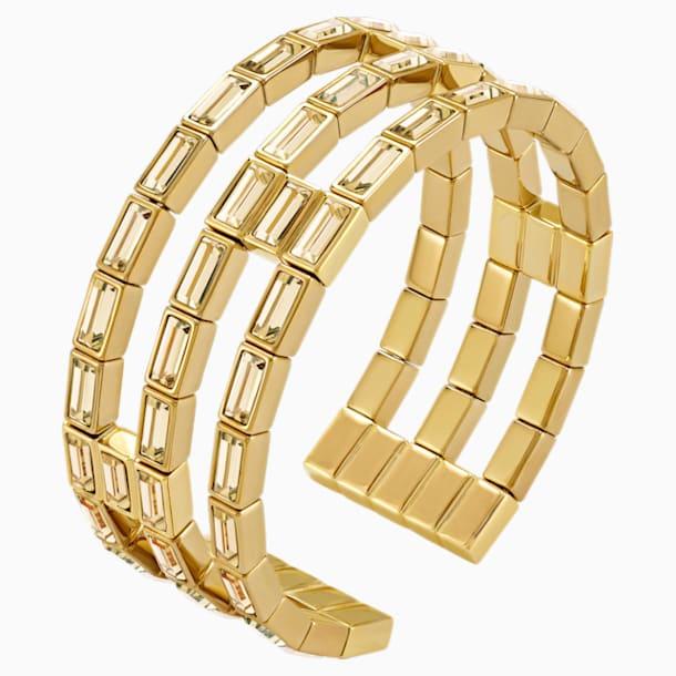 Fluid Cuff, Brown, Gold-tone plated - Swarovski, 5515330