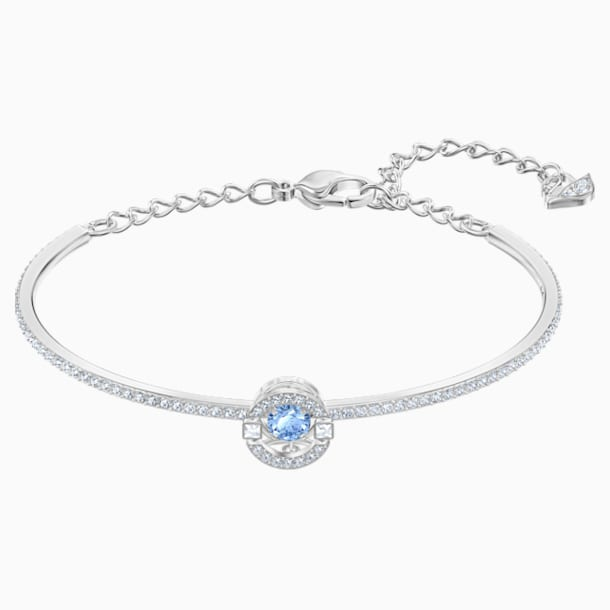 Bracelet-jonc Swarovski Sparkling Dance, bleu, Métal rhodié - Swarovski, 5515385