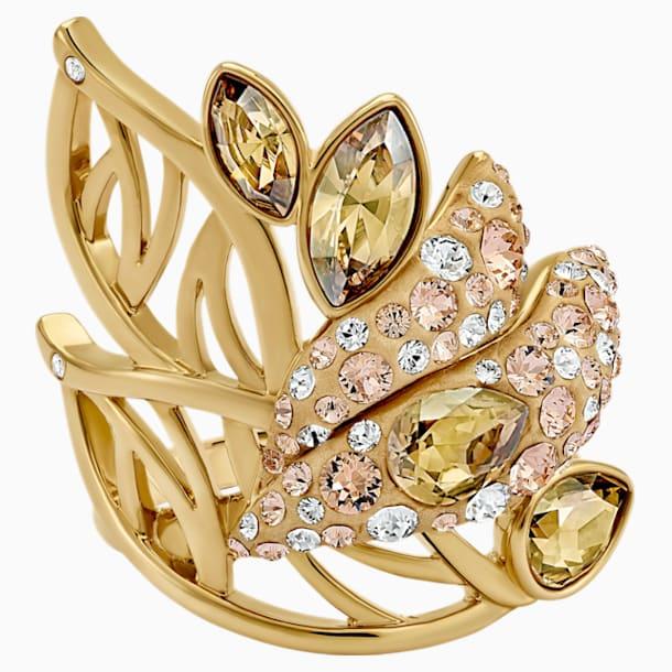 Graceful Bloom Cocktail Ring, Brown, Gold-tone plated - Swarovski, 5515401