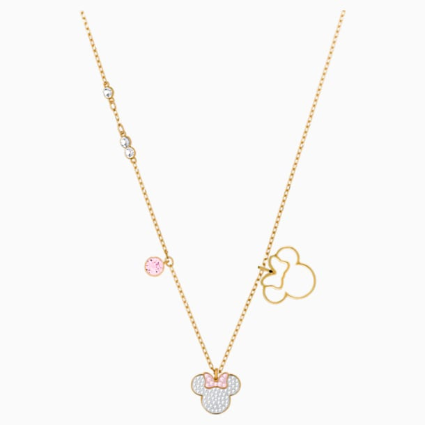 Mickey & Minnie Pendant, White, Gold-tone plated - Swarovski, 5515433
