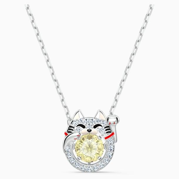 Swarovski Sparkling Dance Cat Necklace, Light multi-colored, Rhodium plated - Swarovski, 5515438