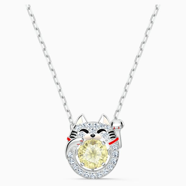Swarovski Sparkling Dance Cat Necklace, Light multi-colored, Rhodium plated - Swarovski, 5515438