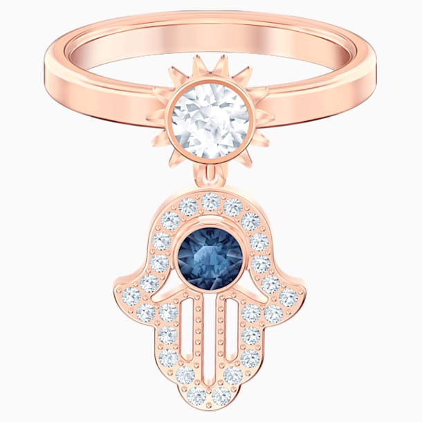 Swarovski Symbolic 圖形戒指, 藍色, 鍍玫瑰金色調 - Swarovski, 5515443