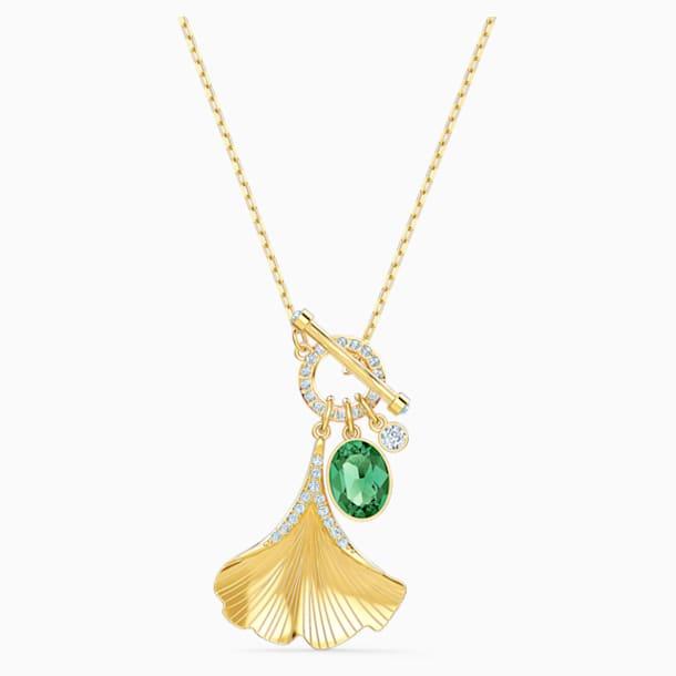 Náhrdelník Stunning Gingko, zelený, pozlacený - Swarovski, 5515465