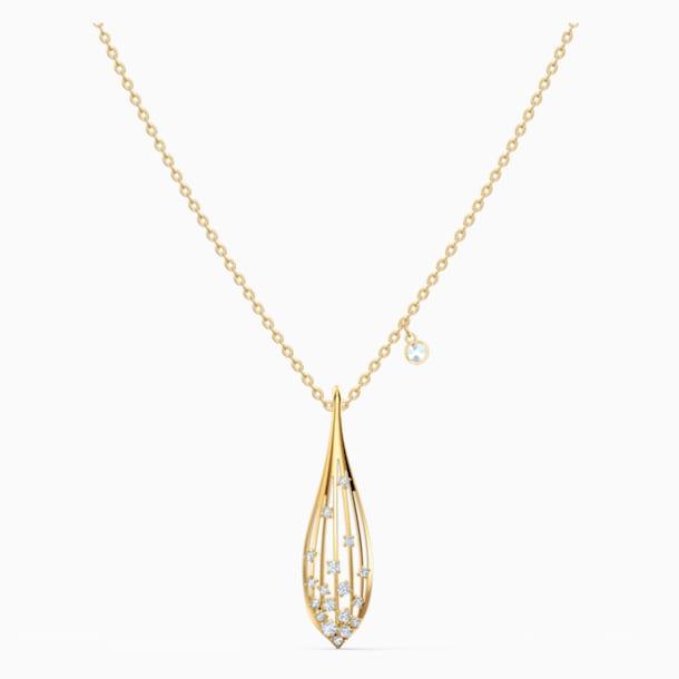 Stunning Olive medál, fehér, arany árnyalatú bevonattal - Swarovski, 5515466