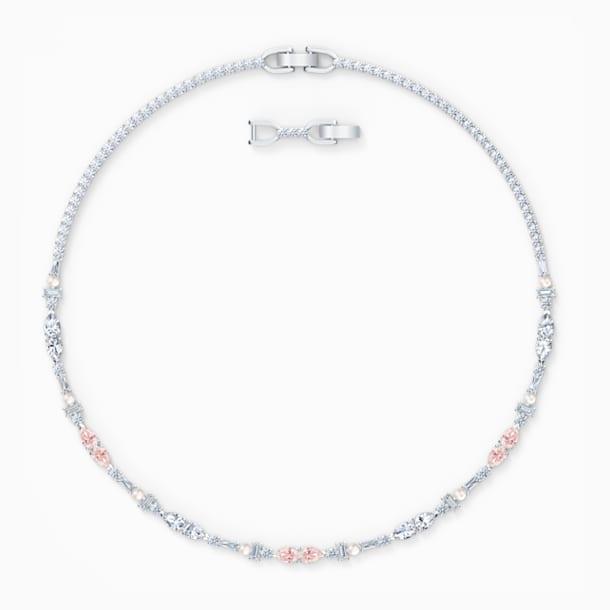Perfection Chaton Necklace, Pink, Rhodium plated - Swarovski, 5515514