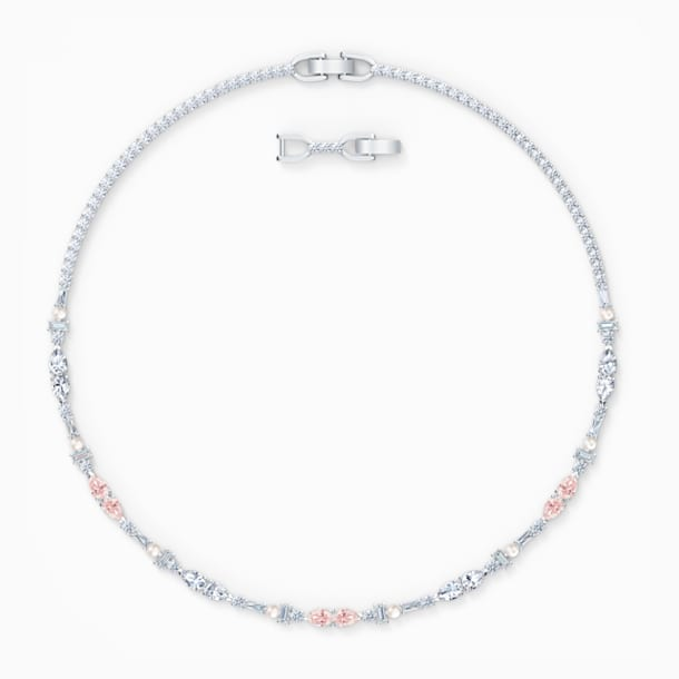 Perfection Chaton Necklace, Pink, Rhodium plated - Swarovski, 5515514