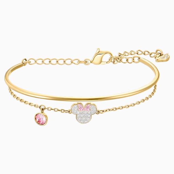Bracciale rigido Mickey & Minnie, bianco, Placcato oro - Swarovski, 5515627
