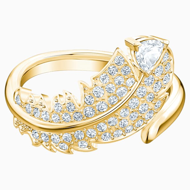 Nice Motif Ring, White, Gold-tone plated - Swarovski, 5515754