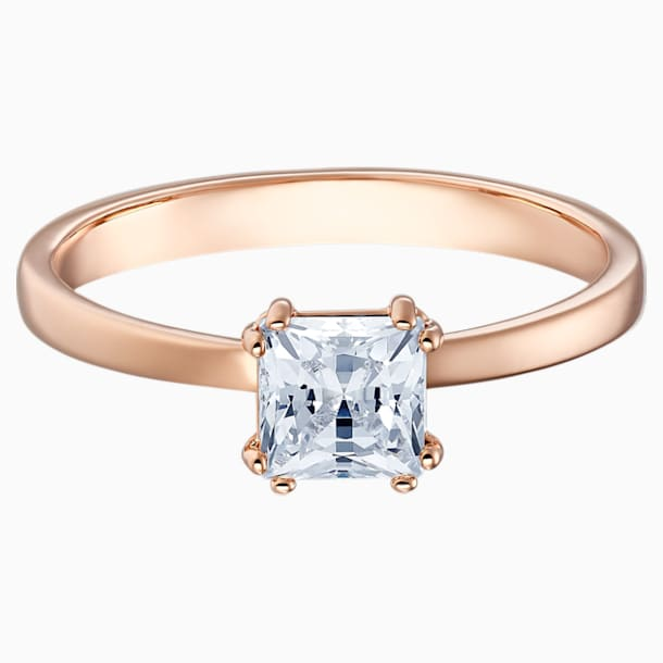 Attract Motif Ring, White, Rose-gold tone plated - Swarovski, 5515778