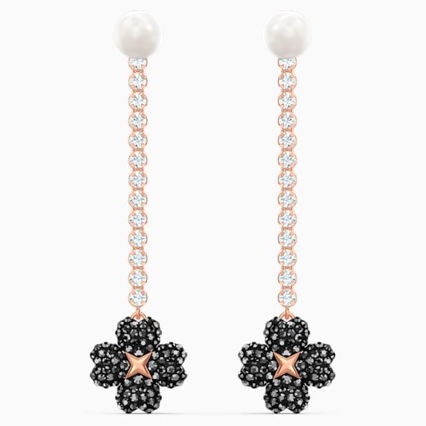 Latisha Pierced Earrings, Black, Rose-gold tone plated - Swarovski, 5516426
