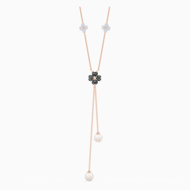 Latisha Y Necklace, Black, Rose-gold tone plated - Swarovski, 5516428