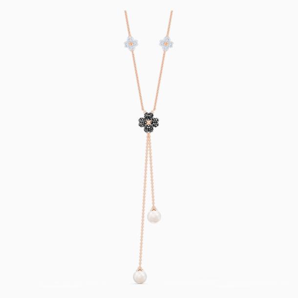 Collier en Y Latisha, noir, métal doré rose - Swarovski, 5516428