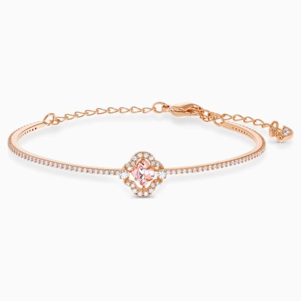 Bracciale rigido Swarovski Sparkling Dance Clover, rosa, placcato color oro rosa - Swarovski, 5516476