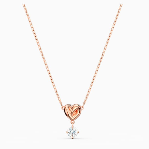 Lifelong Heart Kolye Ucu, Beyaz, Pembe altın rengi kaplama - Swarovski, 5516542